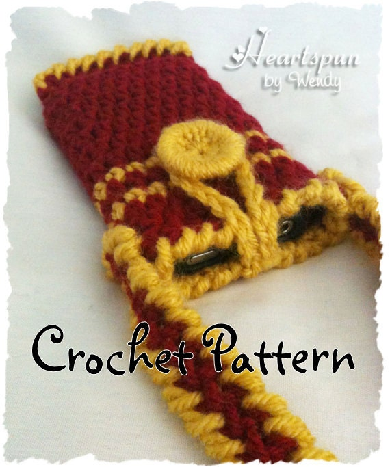 Crochet Patterns Harry Potter : CROCHET PATTERN to make a Harry Potter Gryffindor Iphone case, ipod ...