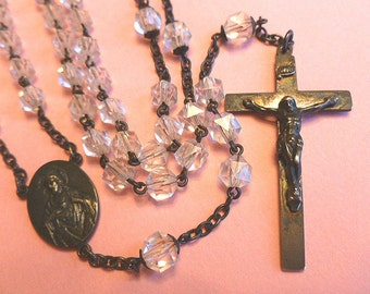 Antique Sterling Silver Crystal Beaded Rosary with Sterling Silver Crucifix Cross Pendant 1940s Collectible