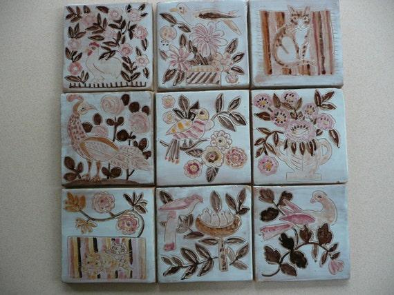 Carrelage peint la main oiseau dessins de chat et for Carrelage peint main