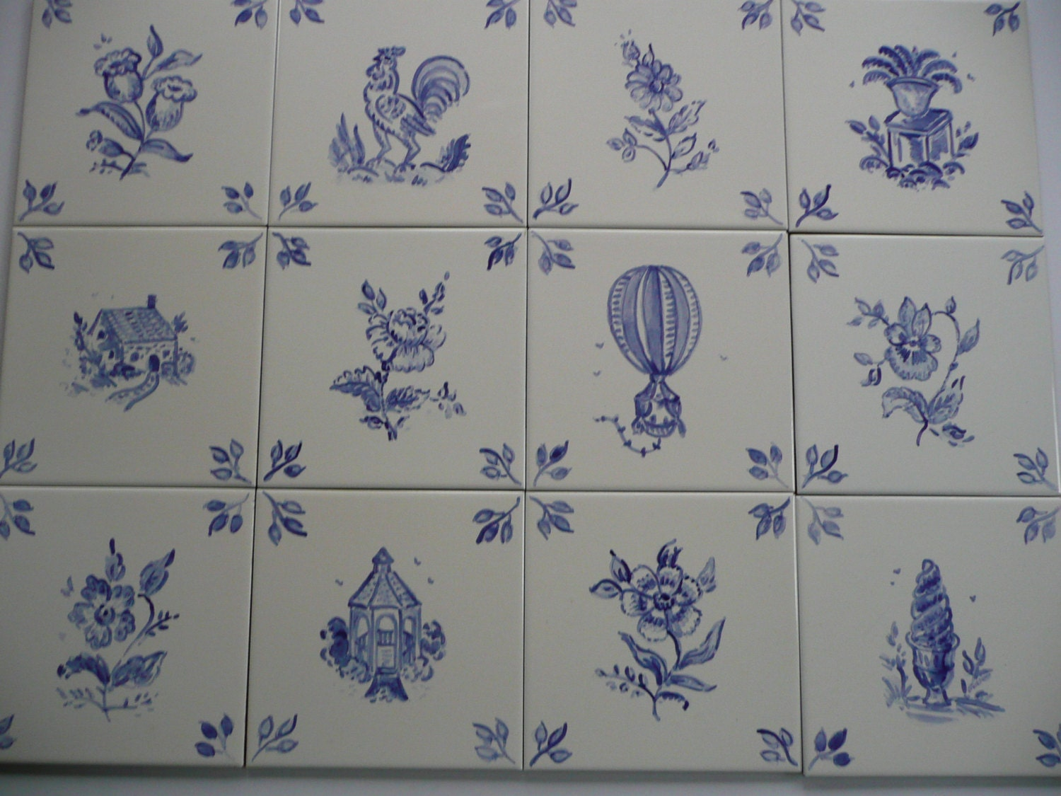 French Country Handpainted Ceramic Tiles 6 X 6 In Blue On