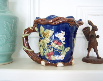 Majolica Pitcher - Faux Bois Majolica Pitcher - Vintage Pitcher - Majolica - Large Pitcher