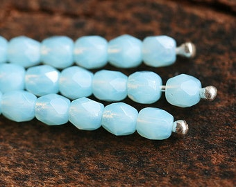 Opal Blue czech glass beads, Fire polished sky blue round faceted spacers - 4mm - 50Pc - 1095