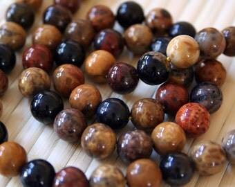 Natural Petrified Wood 16mm Round Bead, 16-Inch Strand G01130