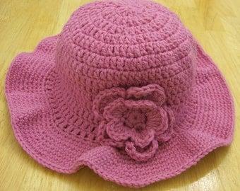 Crocheted Women's Azalea Pink Winter Hat with Wide Brim and Flower
