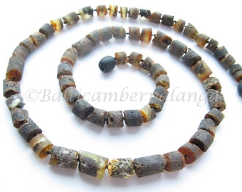 Raw Unpolished Baltic Amber Necklace For Men/Unisex Adults