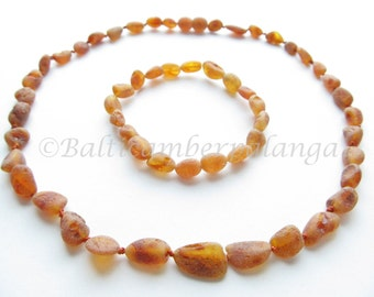 Set Of Raw Unpolished Cognac Color Baltic Amber Necklace and Matching Bracelet
