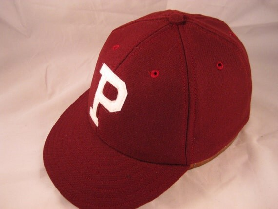 soft wool flannel baseball cap handcut felt p logo 1910s