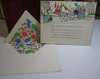 1920's 30's unused Art Deco Christmas Card with Original  matching art Deco lined Envelope victorian village  stagecoach scene