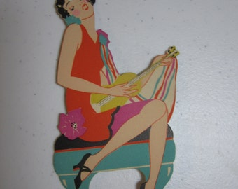 Art deco  colorful Gibson die cut unused bridge tally card jazzy flapper girl playing a ukulele