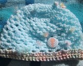 Crochet baby beanie with baby seahorse button fits 3 to 5 months