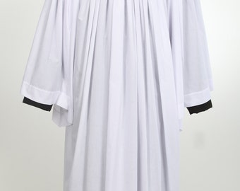 Clergy surplice historically German design, BROADCLOTH, liturgical vestment, flowing white robe, easy care, choir robe