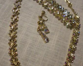 SALE Vintage Coro Aurora Borealis AB Rhinestone Crystal Necklace, Bracelet & Earrings Set