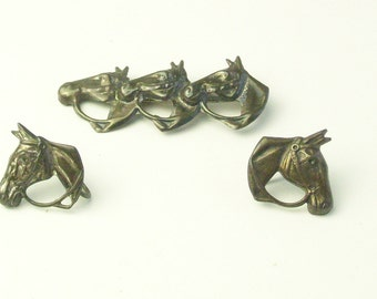 1930's Triple Horse Head Vintage Sterling Silver Brooch & Earrings Signed BB Fine Jewelry Gift For Her Horse Lover Gift on Etsy
