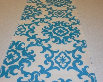 Turquoise and White Damask Table Runner