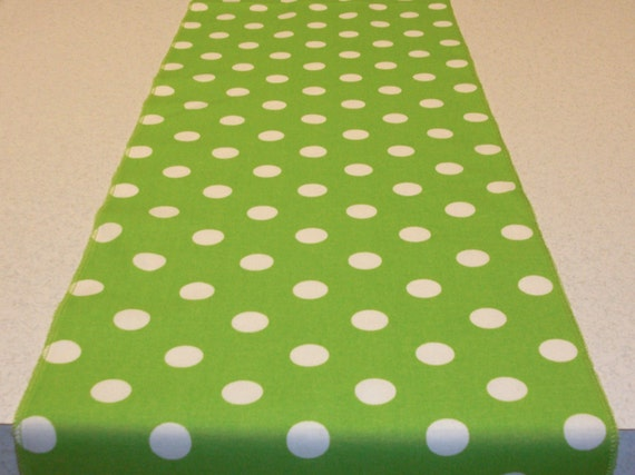 green and white polka dot table runner
