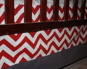 Red Chevron Straight Crib Skirt