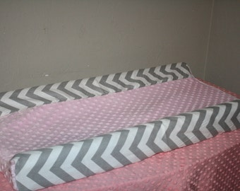 Deluxe Gray Chevron and Light Pink Minky Contour Changing Pad Cover