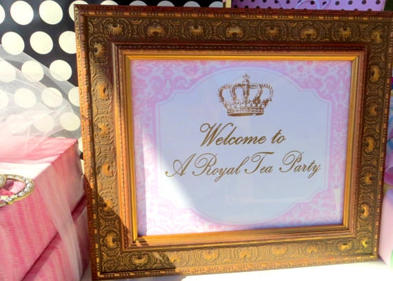 crown party welcome sign royal tea party baby by