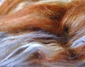 Cinnamon Latte 2 - 4.5 oz Babester Batt - Superfine Merino, Silk, Polwarth, Camel, BFL, Jacob spinning fiber batt