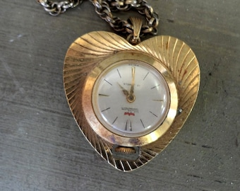 Vintage Heart Shaped Waltham Goldtone Watch on a Chain - REDUCED