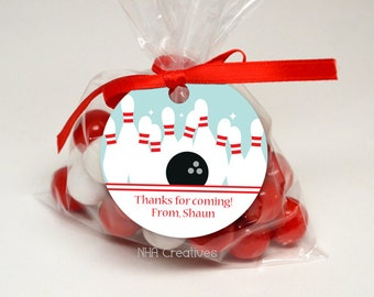Personalized Bowling Favor Tag - DIY Printable Digital File