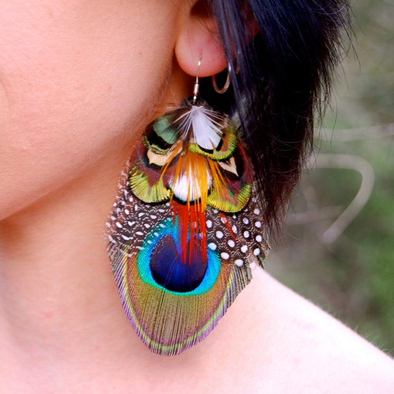 Feather Jewelry: FOREST DREAMS Peacock Feather Earrings SALE