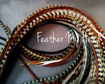 50 Pc. Feather Hair Extension Natural Grizzly Feathers 9-12 Inches Long SPECIAL ONLY 25 AVAILABLE