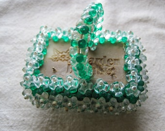 Vintage Green and White Beaded Basket