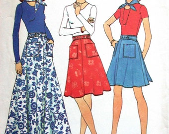 """Simplicity Jiffy Skirt Pattern No 6789 UNCUT Vintage 1970s Size 12 14 Medium Waist 26 1/2"""" to 28"""" Back Wrap Skirt 3 Lenghts and Scarf Easy"""