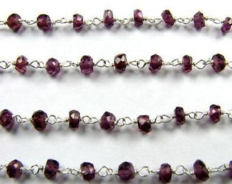 Red Garnet Rosary Chain Red Beads 1 Ft 3.5mm Red Semiprecious Faceted Gemstone Sterling Silver Chain Take 20% Off Garnet Jewelry Supplies