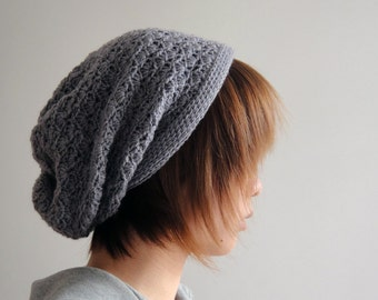 Slouchy Hat for Women and Men in Light Grey, Crochet Hat, Slouchy Beanie, Winter Accessories, Gift Ideas For Her For Him