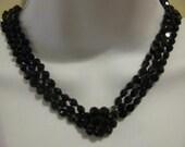 Vintage VOGUE Signed Jet black 3 Strand Necklace and Earring Set