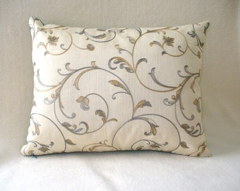 "Pillow with 14""x18"" Insert, Aqua, Beige Off White, Decorative Accent Designer Pillow, Ready to use"