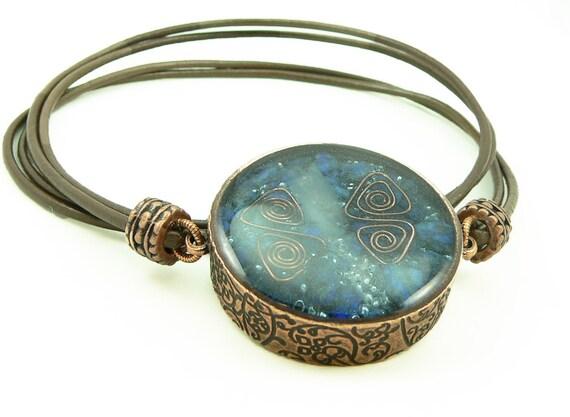 Orgone Energy Mens/Unisex Necklace - Large Double Sided Pendant - Copper w/Lapis Lazuli Gemstone - Leather Necklace - Artisan Jewelry