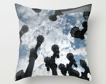 LACMA Urban Light Sofa Pillow, Lamp Post Accent Pillow, Blue Throw Pillow Cover, 18x18 24x24 Decorative Pillow Cushion