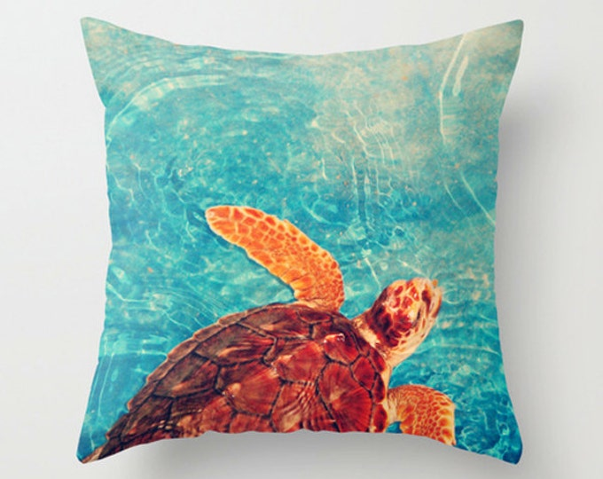 Sea Turtle Pillow Cushion Cover for a Ocean Theme Nursery - 2 sizes available