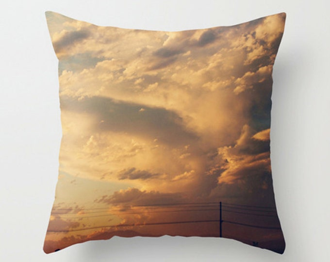 Pastel Sofa Pillow, Yellow Accent Pillow, Neutral Throw Pillow Cover, 18x18 22x22 Decorative Pillow Cushion, Dramatic Sky Sunset Decor