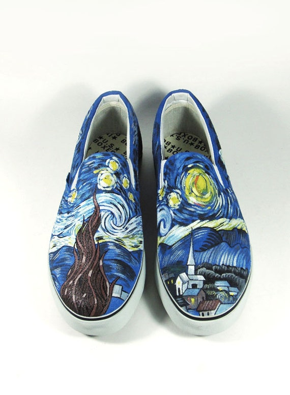 Fanart The Starry Night by Vincent Van Gogh, custom shoes.