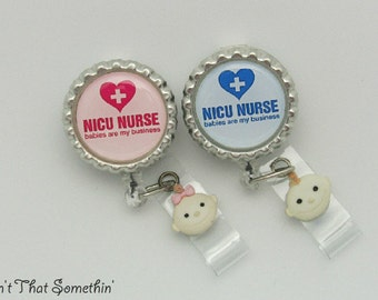 Nicu Nurse Retractable Badge Reel in Blue or Pink - Nicu Badge Reel - Nurse ID Holder - Medical Badge Clip - Hospital ID Pull - ID Reel Gift