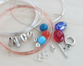 Woven Wire Bracelet Make Your Own Jewelry Making DIY Kit Crafting Viking Knit Supplies Supply Wire Clasp Glass Bead Jumprings Endcaps