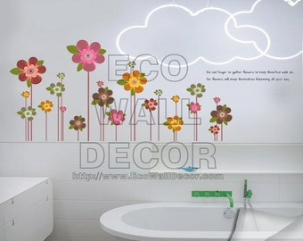 PEEL and STICK Removable Vinyl Wall Sticker Mural Decal Art - Colorful Growing Flowers Lollipop II