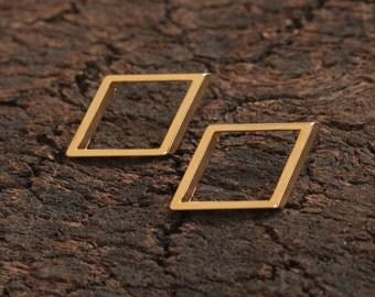 Gold Geometric Posts , Rhombus Earring Studs , Geometric Jewelry , Jewelry for Women , Big Geometric Earrings , Trending Item , Gift for Her