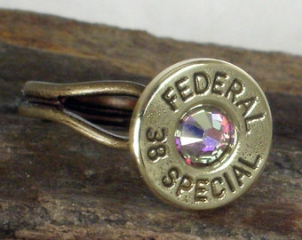 Bullet Ring - Federal 38 SPL -  AB Crystal