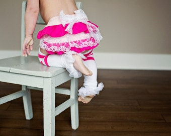Baby Girl Bloomer--diaper cover--Valentines--ruffle diaper cover--ruffle bloomer--Pink and Lace bloomer--Spring--Baby Girl--Photo Prop