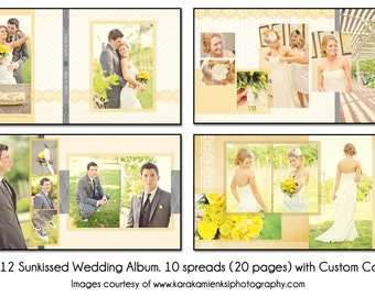 PSD Wedding Album Template - SUNKISSED - 12X12 10 spread (20 page) design with custom cover