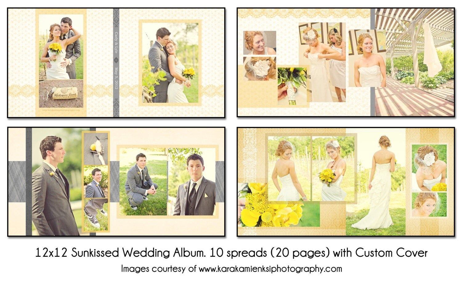 How to scrapbook wedding album - Psd Wedding Album Template Sunkissed 12x12 10 Spread 20 Page Design With Custom Cover