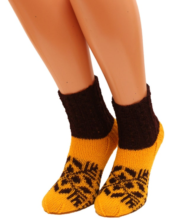 Knitting Women S Socks : Yellow knitted socks women knit