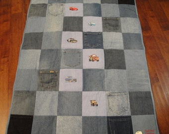 Disney Cars Embroidery on Blue Jean Quilt