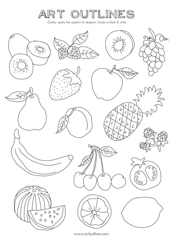 set of fruits art outlines full page 16 original hand drawn outline illustrations from artoutlines on etsy studio