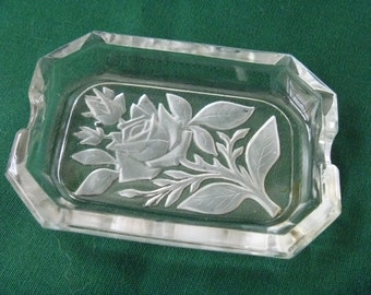 Glass Ashtray Frosted Rose Design Rectangle Heinrich Hoffman Style Cigarettes Tobacco
